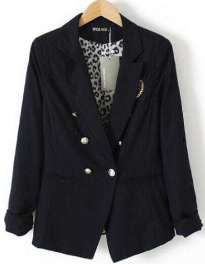 Blue Notch Lapel Long Sleeve Badge Front Leopard Inside Blazer