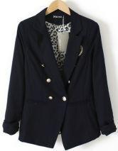 Blue Notch Lapel Long Sleeve Badge Front Leopard Inside Blazer
