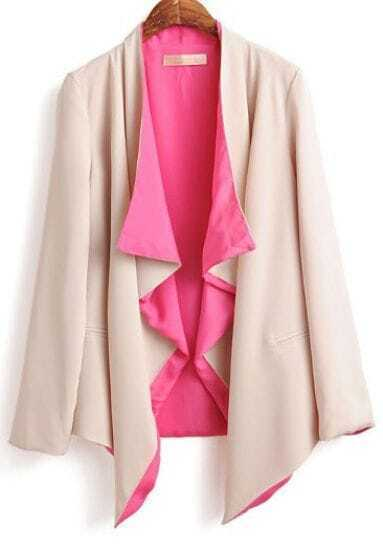 Pink Beige Long Sleeve Draped Front Pockets Belted Blazer