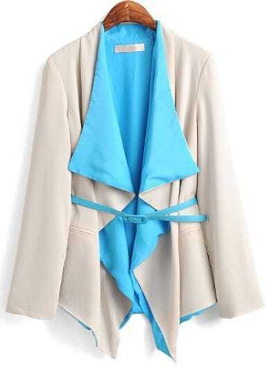 Blue Beige Long Sleeve Draped Front Pockets Belted Blazer