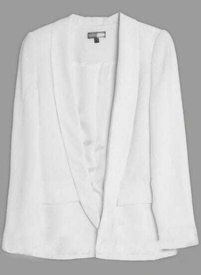 White Shawl Collar Long Sleeve Two Pockets Center Vent Blazer