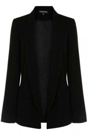 Black Shawl Collar Long Sleeve Two Pockets Center Vent Blazer