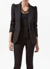 Black Shrunken Notch Lape Long Sleeve One Button Blazer