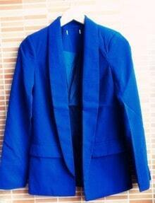 Royal Blue Shawl Collar Long Sleeve Two Pockets Center Vent Blazer