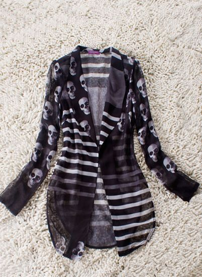 Black Striped and Skull Print Curve Hem Sheer Long Sleeve Suit