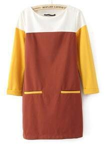 Coffee Yellow Rolled Cuff Pockets Round Neck Shift Dress