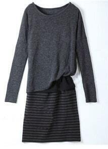 Grey Three Pices Stripe Long Sleeve Dress
