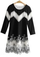 Black Hollow Embroidery Zipper Half Sleeve Dress
