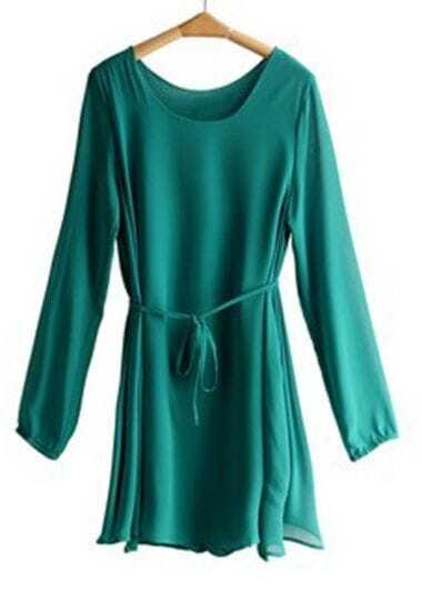 Green Pleated Tied Bow Front Chiffon Long Sleeve Dress