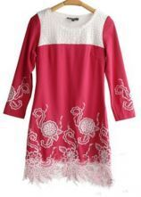 Red White Hollow Embroidery Three Quarter Length Sleeve Dress