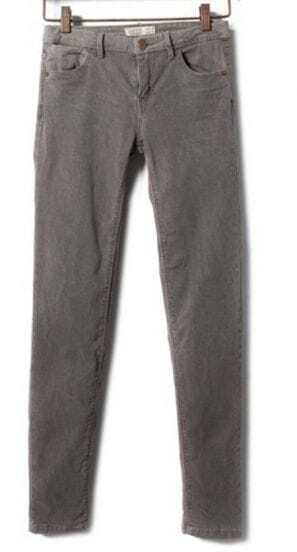 Grey Zipper Fly Denim Mid Waist Pencil Pant