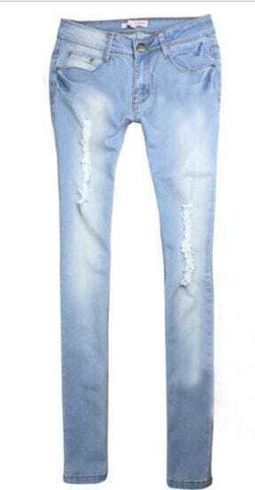 Light Blue bleached Ripped Zipper Fly Denim Jeans