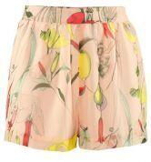 Pink Floral Print Elastic Waist Chiffon Sheer Shorts