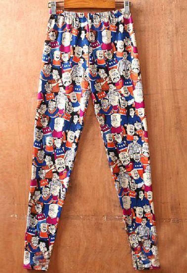 Orange Litter People Print Elastic Waist Legging