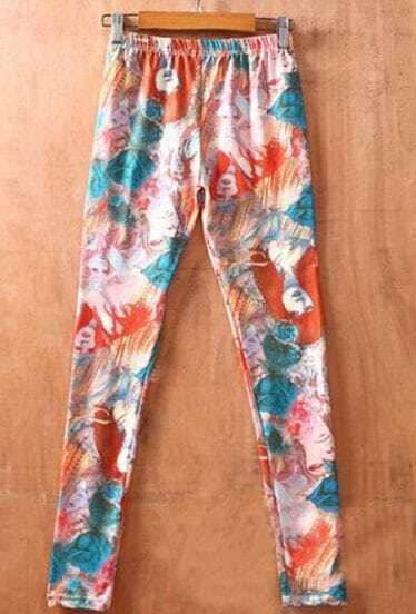 Light Blue Forest Girl Print Elastic Waist Legging