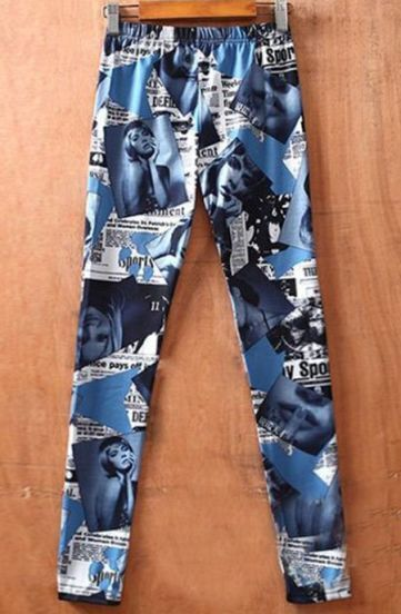 Drak Blue Newspaper Print Elastic Waist Legging