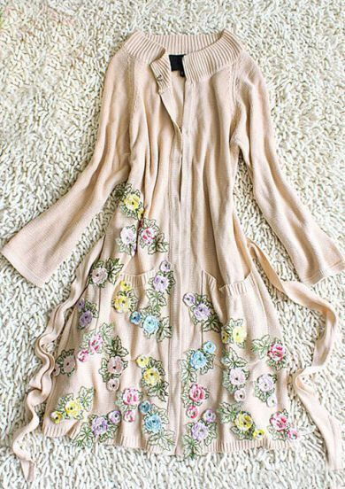 Apricot Long Sleeve Flowers Embroidered Tie Waist Knitted Cardigan