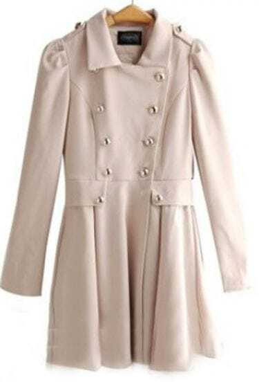 Apricot Double Breasted Lapel Pleated Long Sleeve Trench Coat