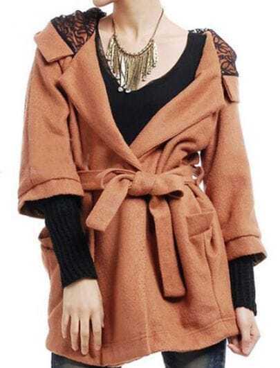 Coffee Contrast Black Cuffs Lace Hooded Woolen Coat