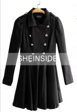 Black Double Breasted Lapel Pleated Long Sleeve Trench Coat