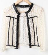 Black PU Trims Floral Lace Sheer Crop Open Cardigan