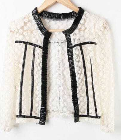 Black PU Trims Floral Lace Sheer Crop Open Cardigan