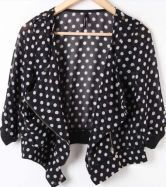 Black Polka Dot Zipper Drape Neck Half Sleeve Jacket
