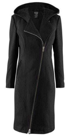 Black Oblique Zipper Hooded Pads Shoulder Long Woolen Coat
