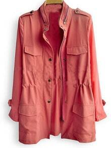 Orange Red Stand Collar Long Sleeve Drawstring Boyfriend Coat