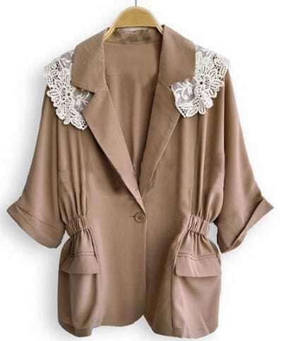 Khaki V Neck Single Button Half Sleeve Lace Shoulder Coat