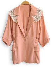 Nude V Neck Single Button Half Sleeve Lace Shoulder Coat