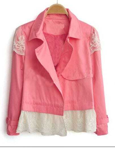 Pink Contrast Lace Hem Lapel Single Button Long Sleeve Coat