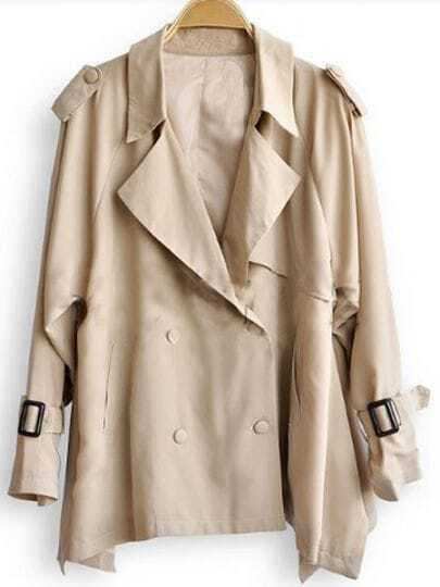 Khaki Double Breasted Tabs Shoulder Long Sleeve Trench Coat