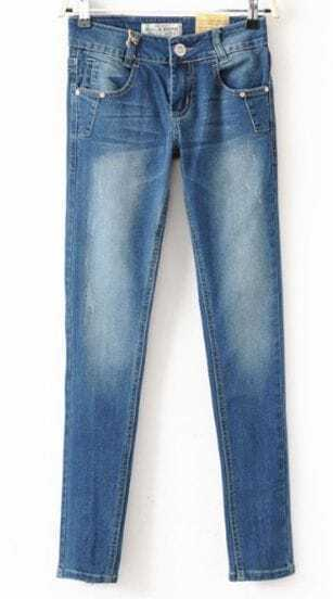 Light Blue Bleached Front Zipper Fly Pockets Skinny Jeans