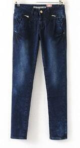 Dark Blue Zipper Embellished Hips Skinny Jeans