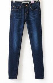 Dark Blue Bleached Front Zip Embellished Bottom Skinnt Jeans