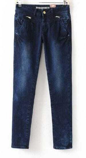Dark Blue Zipper Embellished Hips Skinny Jeans