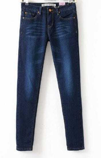 Dark Blue Bleached Front Zip Embellished Bottom Skinnt Jeans