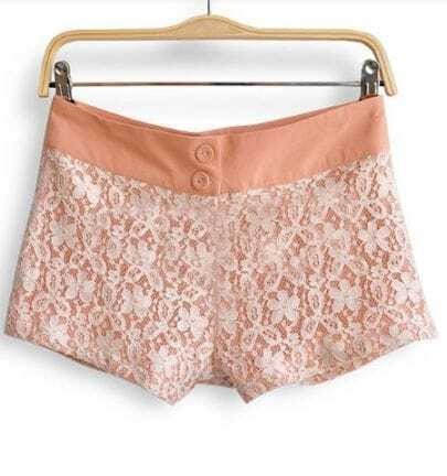 White Floral Lace Layer with Nude Inside Shorts