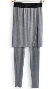 Grey Elastic Waist Cotton Leggings with Split Side Skirt
