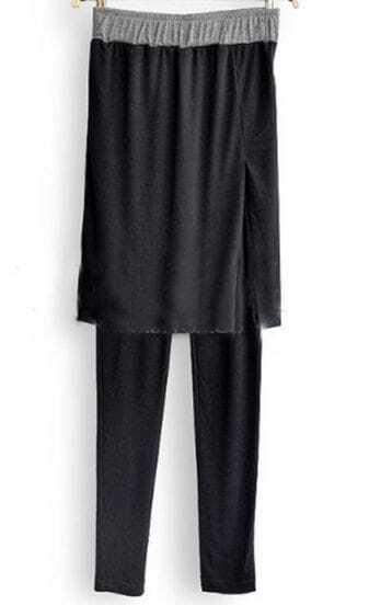 Black Elastic Waist Cotton Leggings with Split Side Skirt