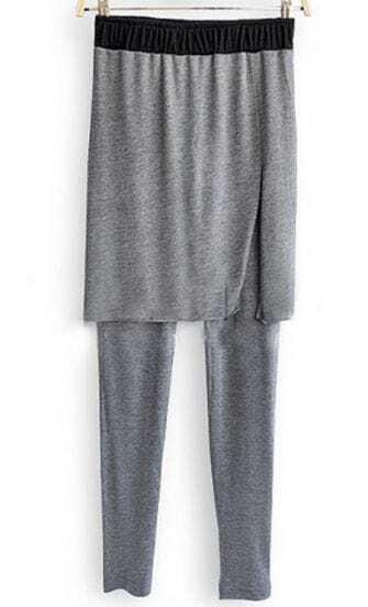 Grey Elastic Waist Cotton Leggings with Split Side Skirt
