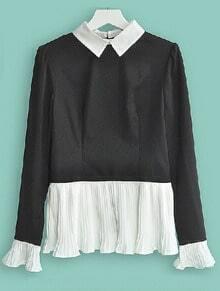 Black White Lapel Long Sleeve Pleated Zipper Shirt
