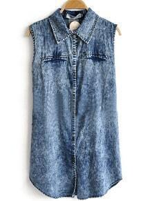 Blue Lapel Sleeveless Single Breasted Denim Shirt