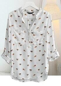 White V Neck Long Sleeve Floral Loose Chiffon Shirt