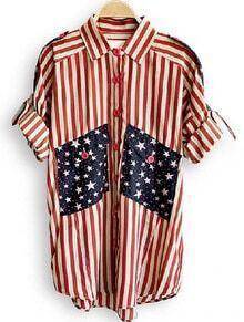 Red Lapel Broken Stripe Stars Print Single Breasted Chiffon Shirt