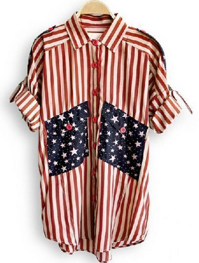 Red Lapel Broken Stripe Stars Print Single Breasted Chiffon Shirt