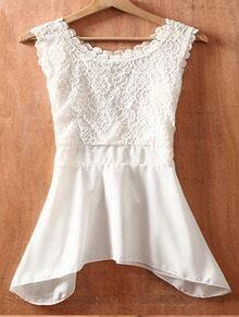 White Round Neck Sleeveless Bow Lace Chiffon Shirt