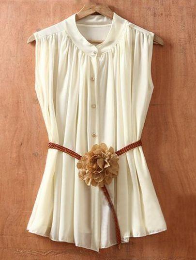 Beige Single Breasted Drawstring Waist Flower Chiffon Shirt