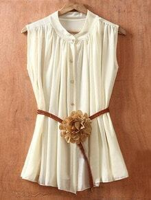 Beige Single Breasted Drawstring Waist Flower Chiffon Shirt